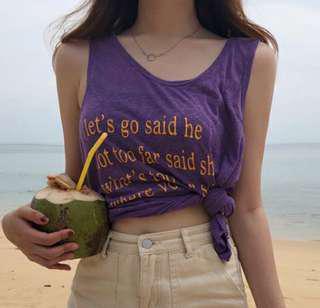 🚚 紫色 英文字母麻背心