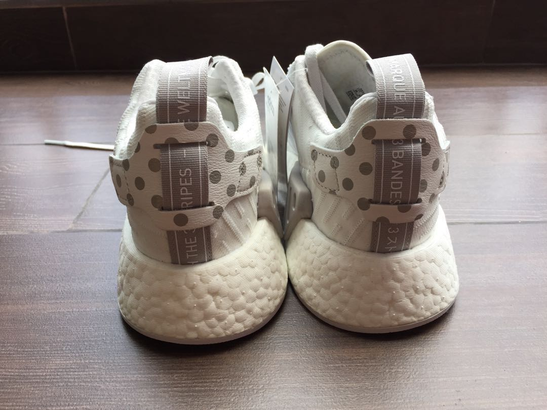 check out 95bc8 baeaf Adidas NMD R2 W in White and Grey Polka Dots, Womens Fashion, Shoes,  Sneakers on Carousell