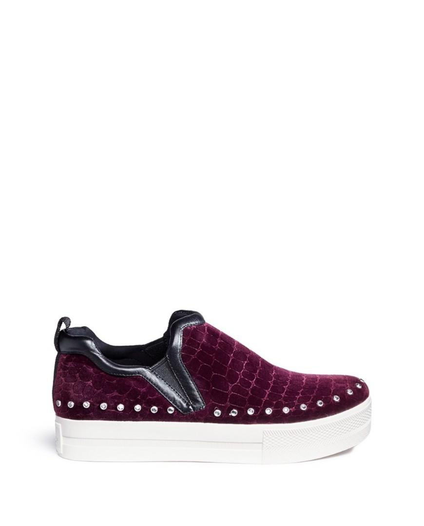 9ad621a39f08 ASH  Jessica  Croc Embossed Velvet Skate Slip-Ons
