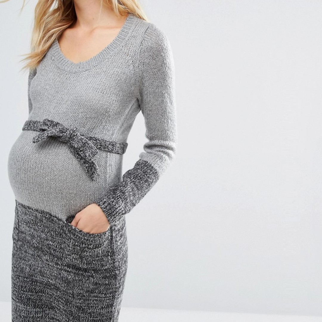 34680b6fc51b4 Asos Maternity Mamalicious Knitted Dress in Grey, Babies & Kids ...