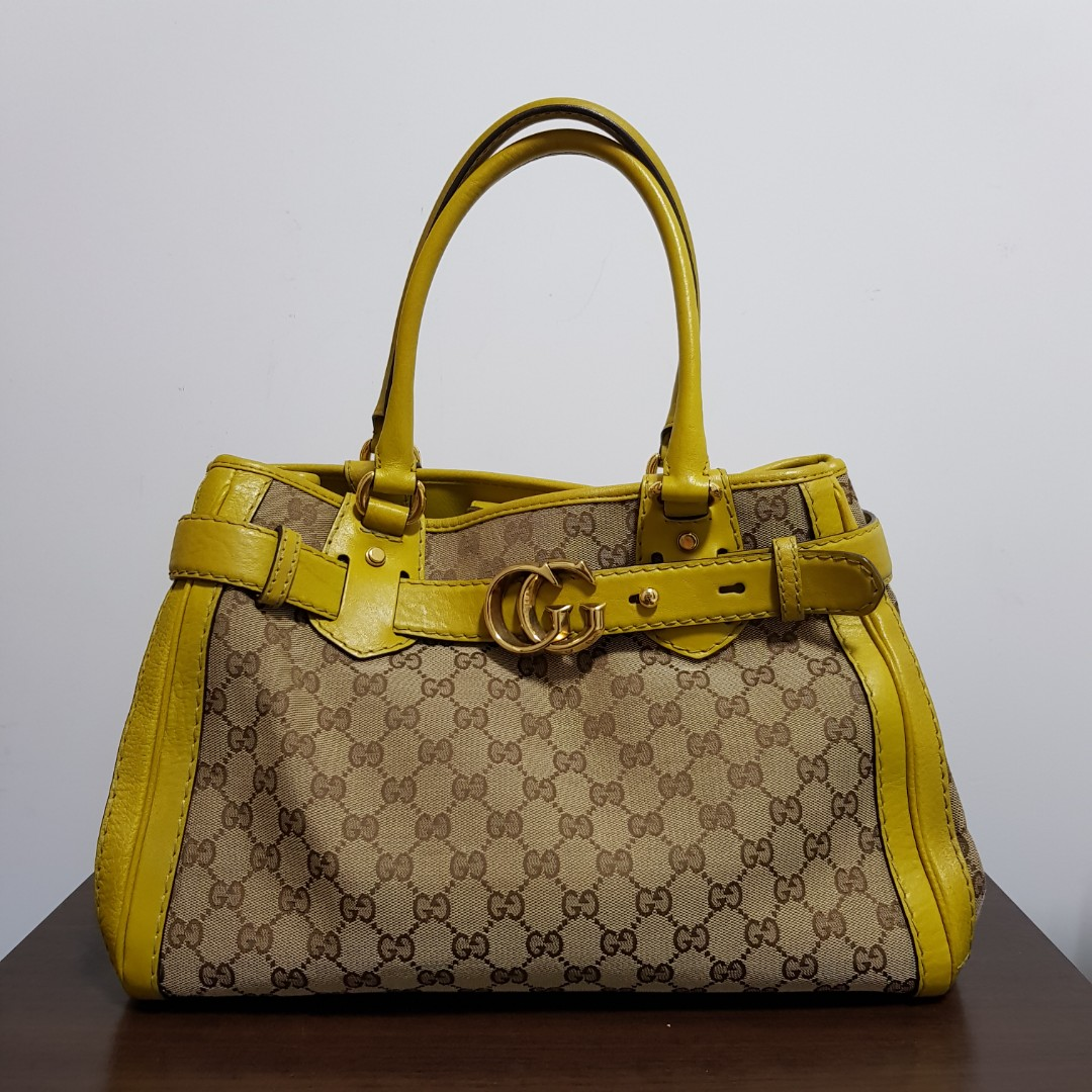 24a851fb15d Authentic Gucci handbag bag - monogram with lime green handle and ...