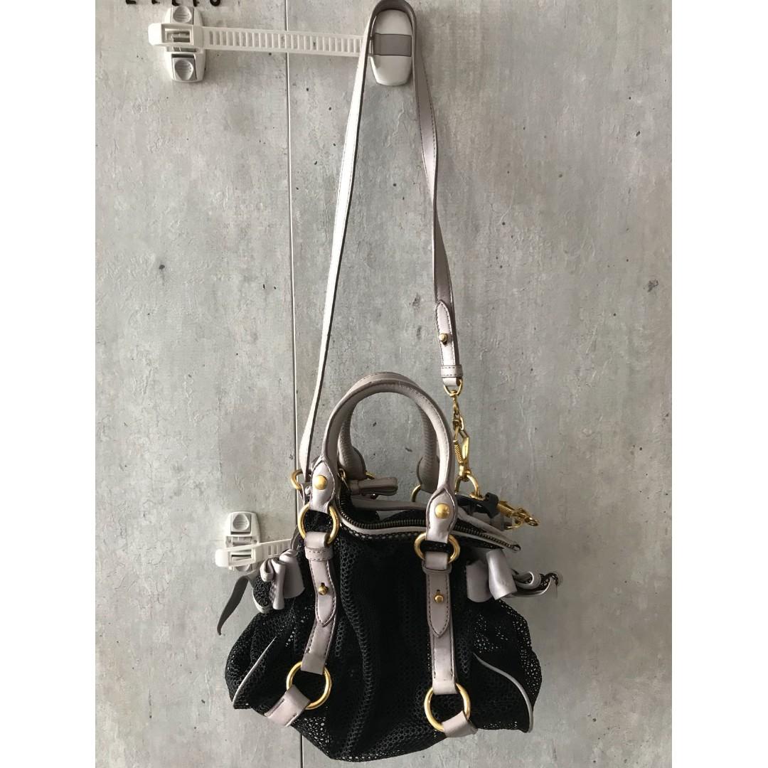 Authentic Used Miu Miu Mini Bow net Bag 6b84bad1f8c72