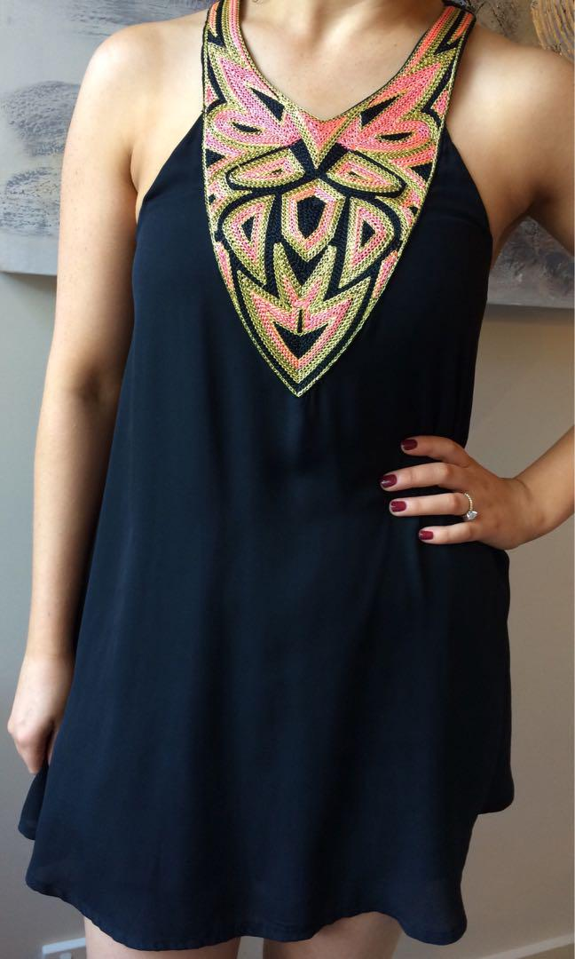 Aztec-Inspired Embroidered Shift Dress