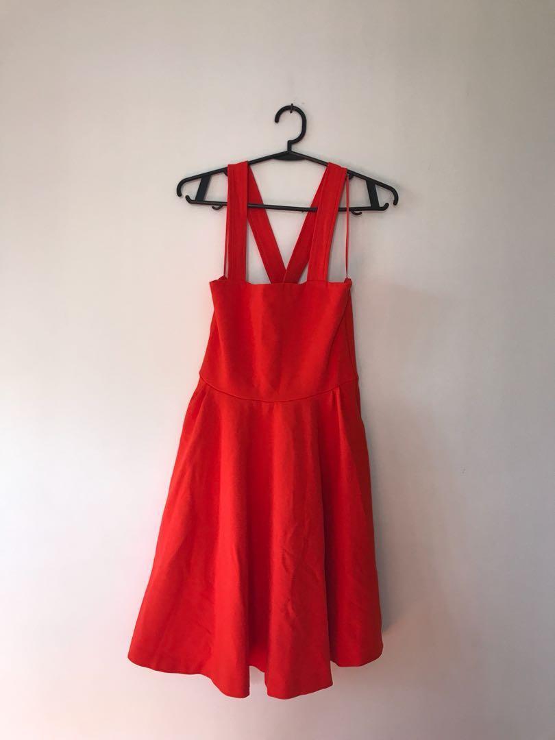 aa030816 BRAND NEW-NO TAG Zara Red Orange Dress, Women's Fashion, Clothes on ...