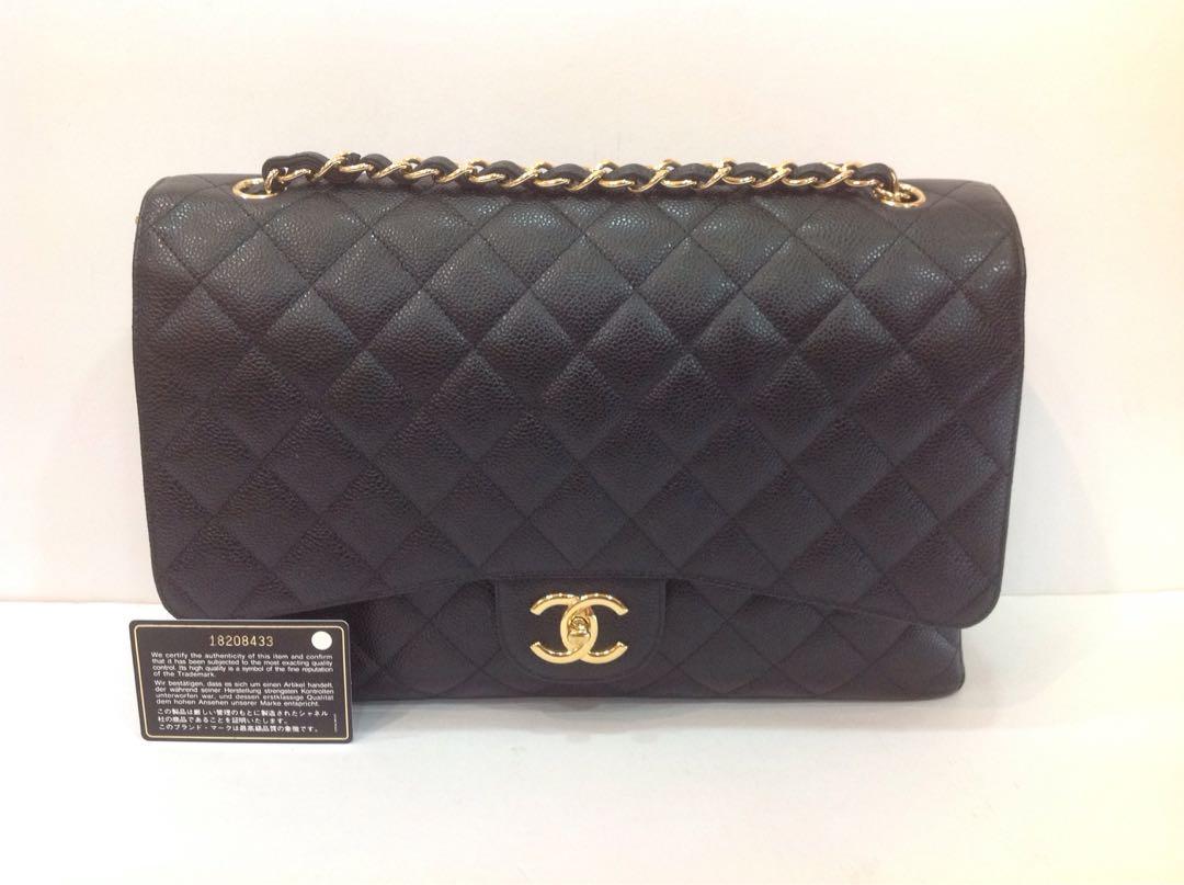 ef426a893ef7 CHANEL BLACK CLASSIC CAVIAR MAXI DOUBLE FLAP BAG GHW, Luxury, Bags ...