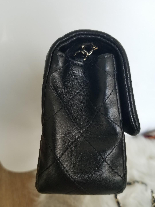 Chanel black lambskin rectangular mini with light gold hardware