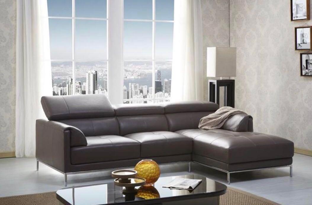 Kuka L Shape Italian Grey Leather Reclining Sofa Furniture Sofas
