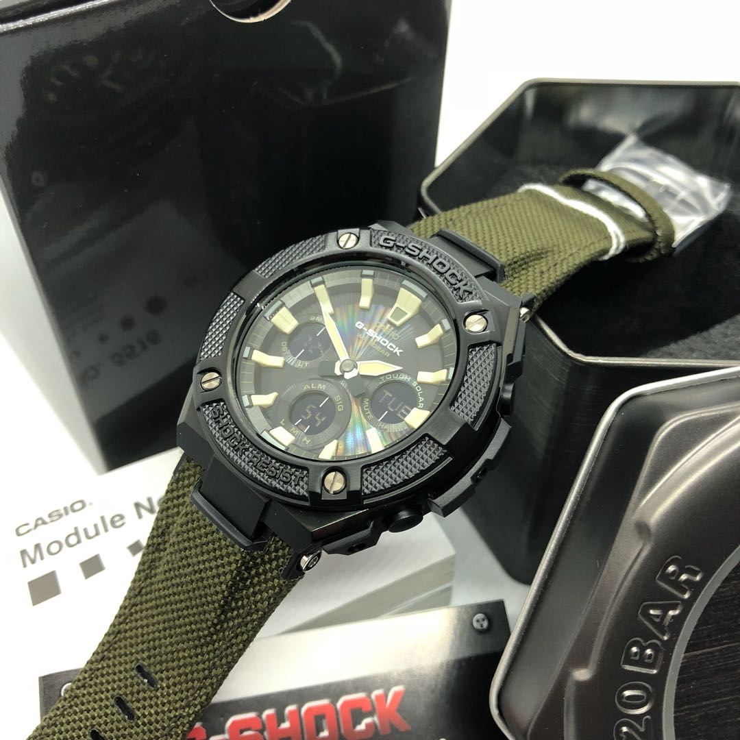 Latest 2018 Cordura Strap Gsteel Casio Gshock Gsts130bc Military Green Black Tough Solar With Free Delivery G Shock