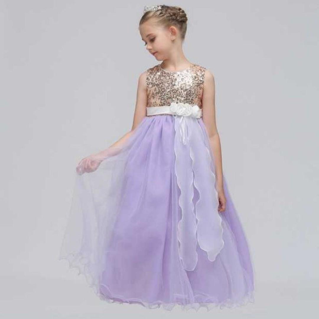 d93ca35a Shimmering Sequinz Flower Girls Wedding Long Gown Dress Lavender 4 ...