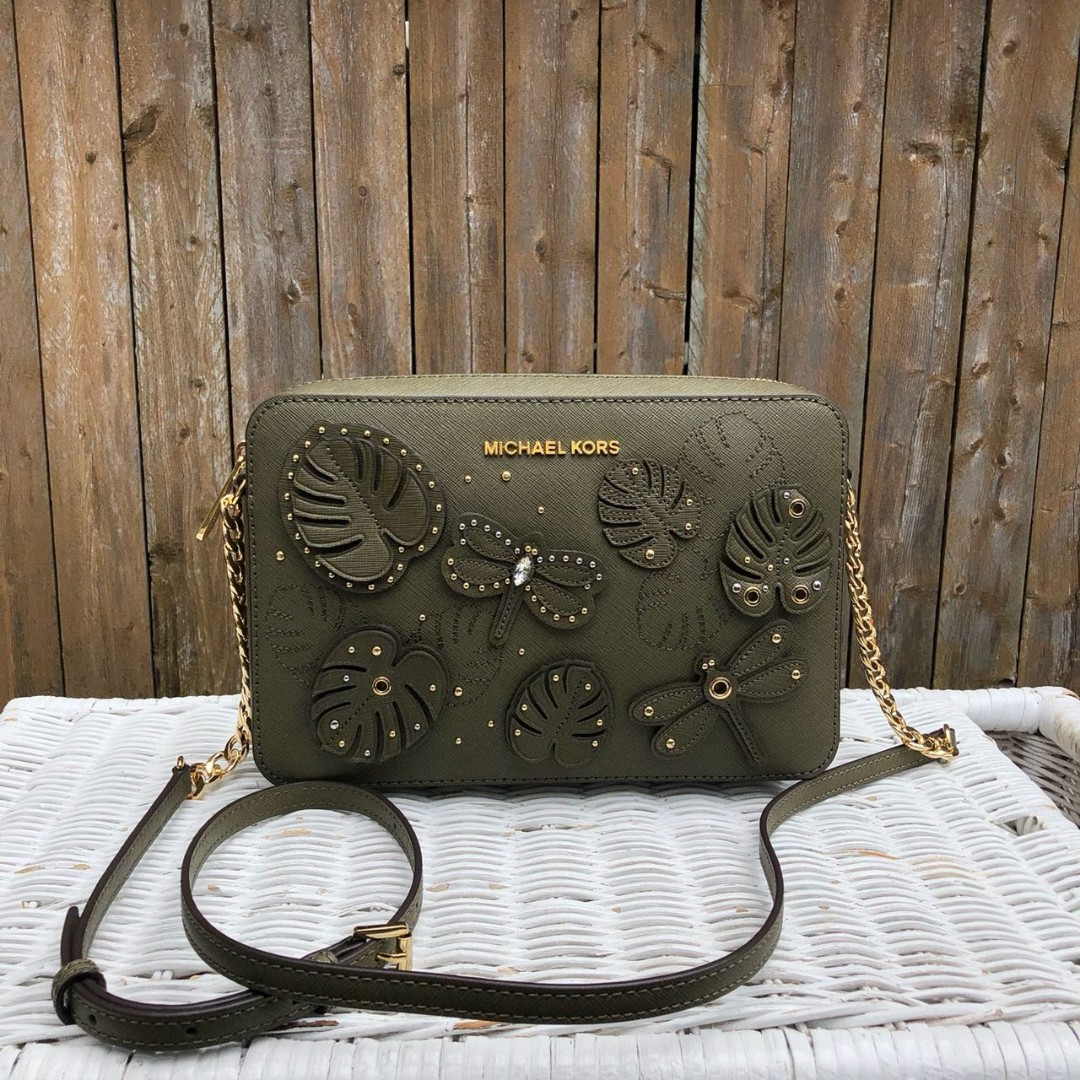 4569fd079bac Michael Kors Jet Set Item Large EW Crossbody in Olive (Dragonfly Applique)