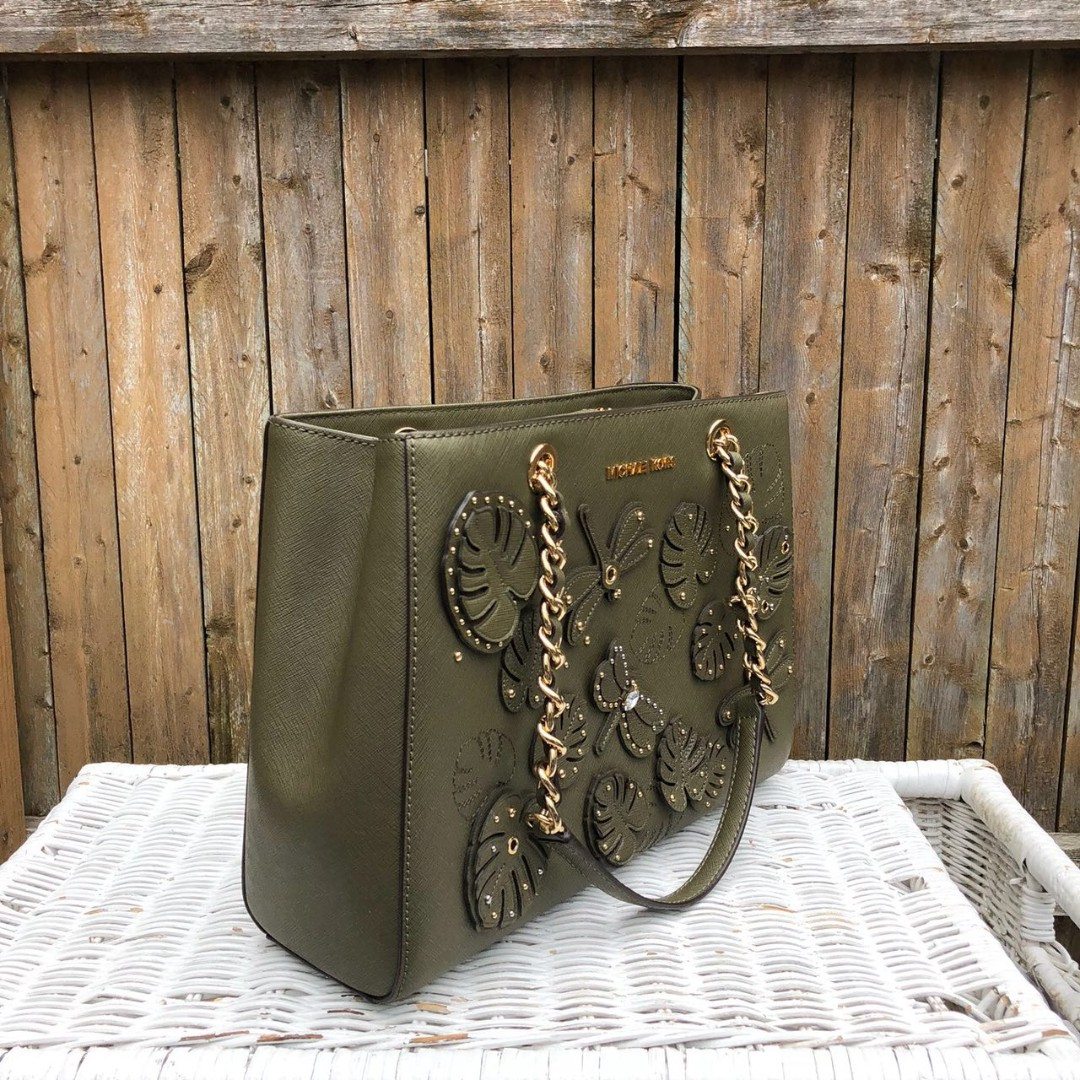 df5c12b7d7e724 Michael Kors Susannah Medium EW Tote in Olive (Dragonfly Applique ...