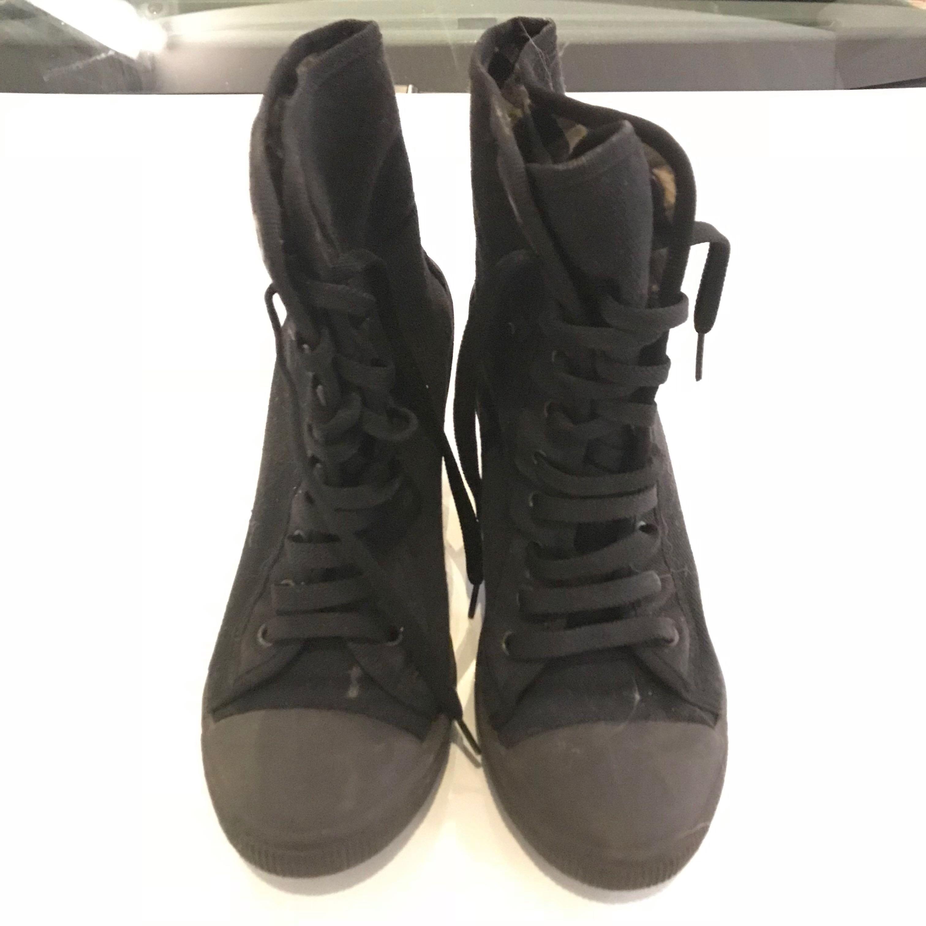 48df6d54 New Look Black Sneakers Wedges Heels, Women's Fashion, Shoes ...