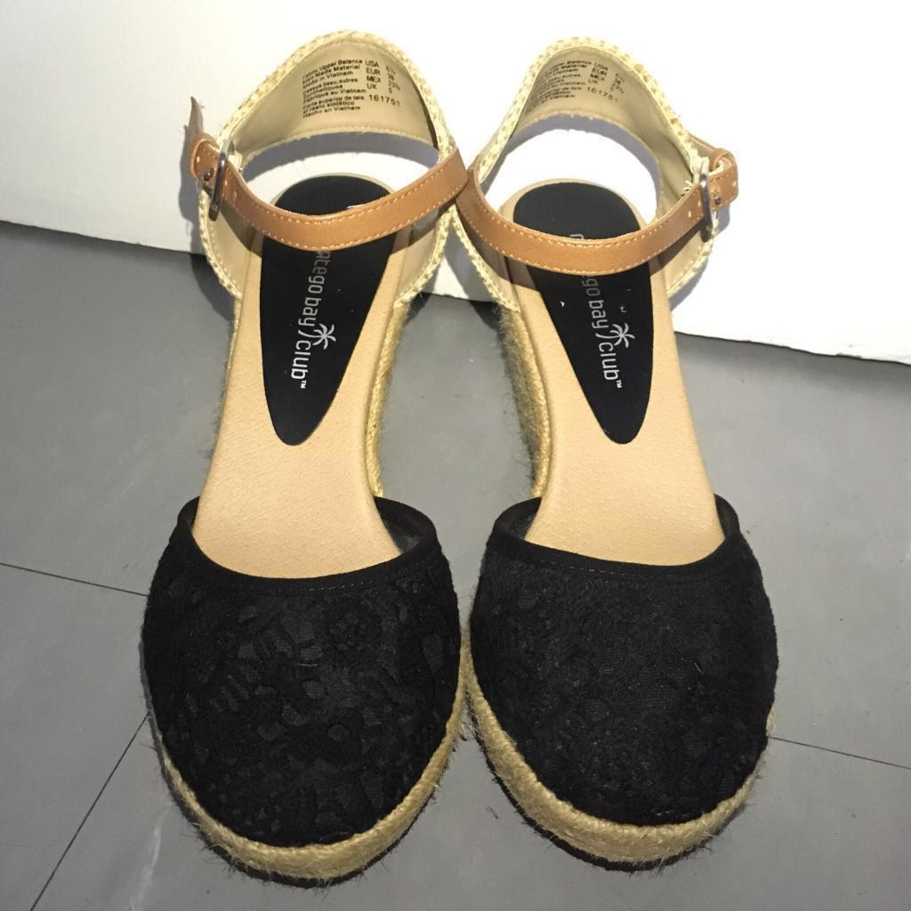 84f6e8f41e588 Payless Montego Bay Club Black Espadrille Wedge Shoes