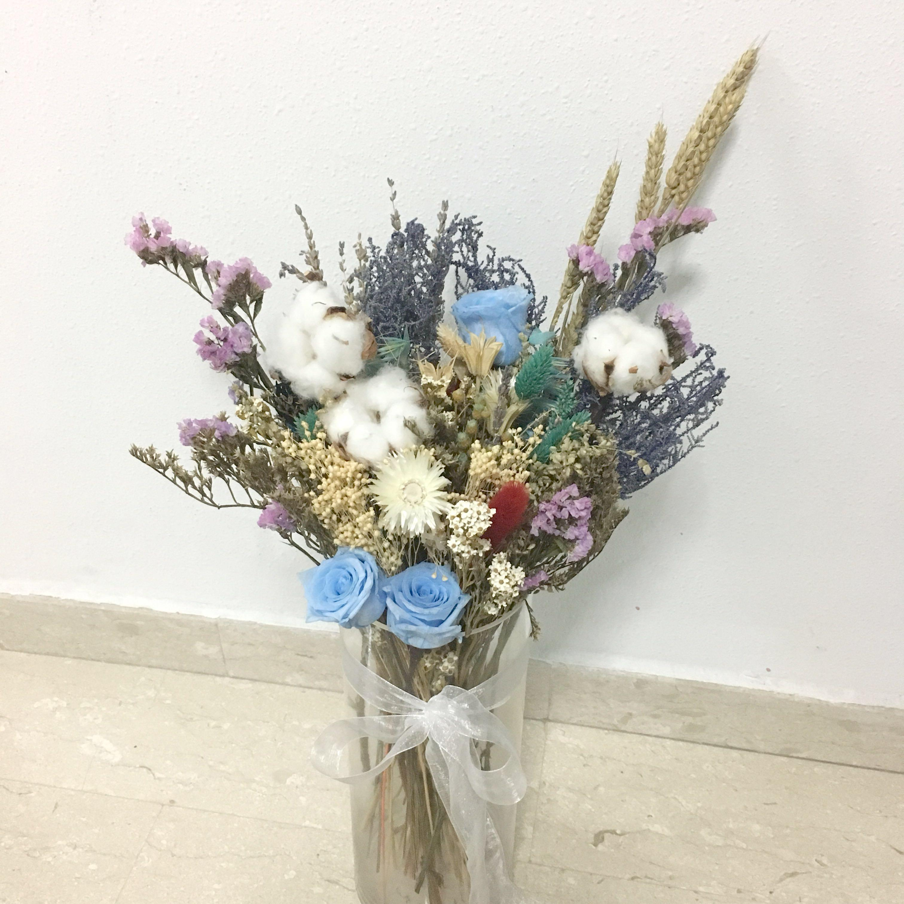Preserved Blue Rose With Dried Flowers And Cotton Flower In A Vase Design Craft Handmade Craft On Carousell