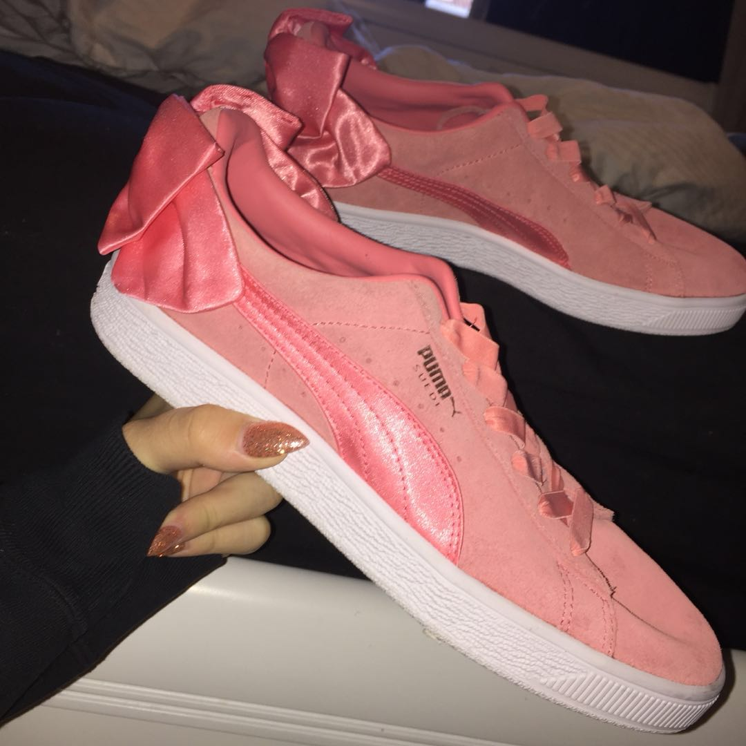 c437c109d55dae Puma suede bow sneakers  Shell pink