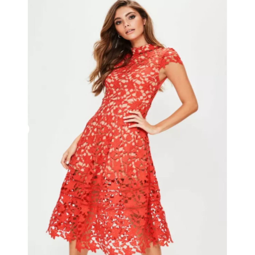 8b64beb805a5 UK Imported  Red Lace Midi Skater Dress