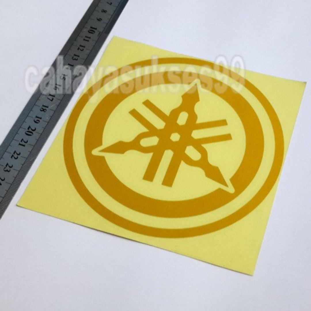 Sticker Cutting Motor Logo YAMAHA Kuning Bulat Diameter 15cm Big Size Stiker Body Motor Striping Reflective New Ready Stock Terlaris