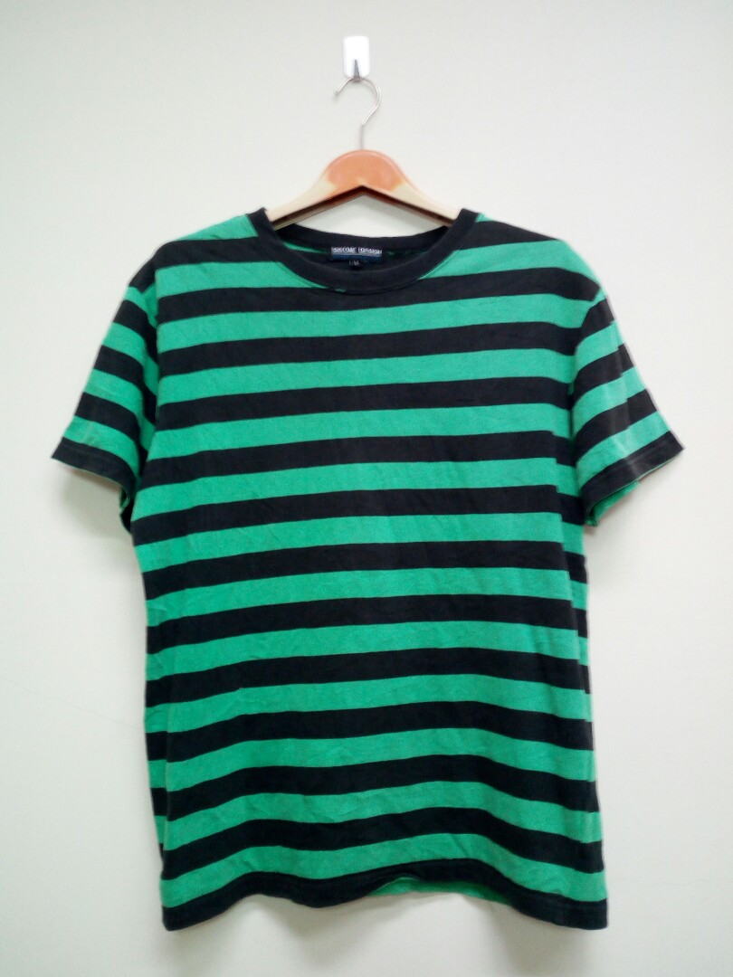 8d677191d3 Stripe T Shirt Black n Green Medium Size, Men's Fashion, Clothes ...