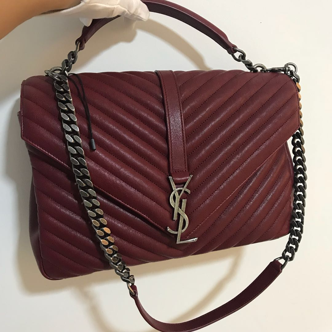 36fe934feb1 YSL Saint Laurent Dark Red Large College Leather Bag 100% AUTHENTIC+BRAND  NEW!, Luxury, Bags & Wallets, Handbags on Carousell