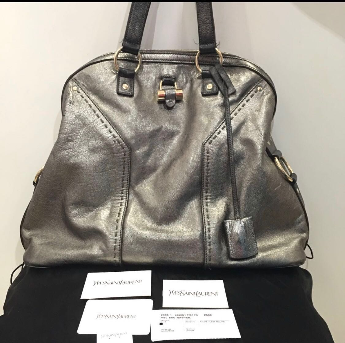 235e246f7414 Yves St Laurent YSL Muse Bag Silver