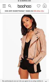 Boohoo pink suede vegan biker jacket (large)