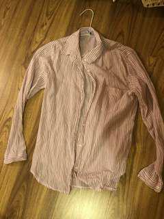 🚚 棉麻粉紫色條紋襯衫
