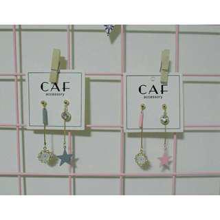 CAF【星裡的時鐘】日系少女 氣質 簡約 垂釣式耳飾 時鐘 星星 長款 甜美耳飾
