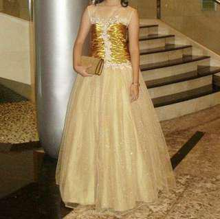 Prom Ball Gold Gown for rent / sale