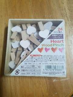 木製心型夾仔 24個