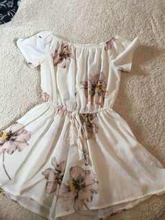 Flowered white bathing suit cover up
