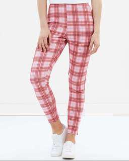 Misssguided Check Pink Pants