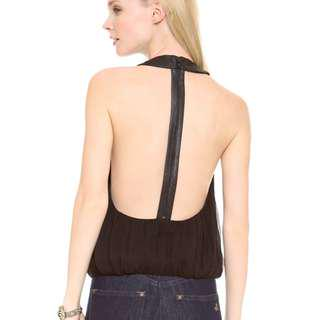 Alice + Olivia T-Back Lambskin Zipper Black Top