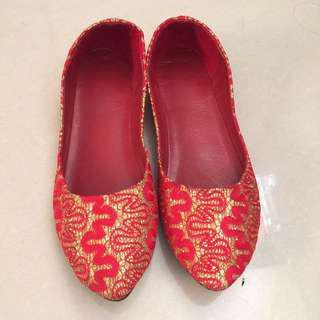 包$15順豐超抵裙褂紅色閃閃婚禮鞋