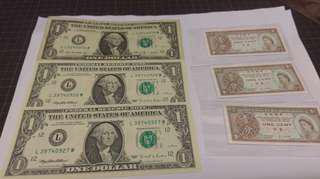 香港政府一仙及美元連號 共六張