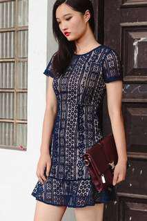 FASHMOB Bally Lace Dress in Navy