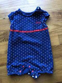 Poney blue white polka dots romper