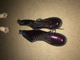 Purple lace up boots