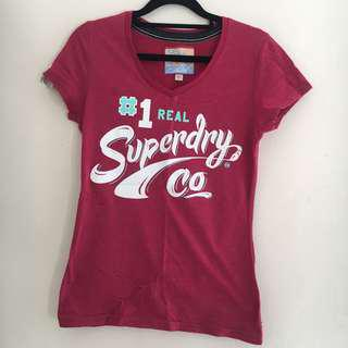 Superdry Women's Maroon V-Neck Graphic T-Shirt