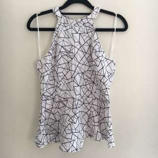Valleygirl Black and White Geometric Top