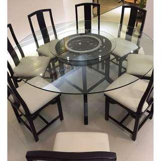 Glass-top Dining table with 8 chairs and lazy Susan