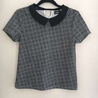 Dotti Checkered Preppy Peter Pan Collar Top