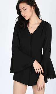 Love Bonito Ellette bell-sleeved playsuit