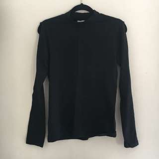 Bauhaus Black Long Sleeve Top with Shoulder Slits