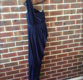 Formal Long Navy Grecian Gown