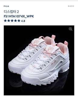 韓國代購🇰🇷Fila Disruptor II 粉紅 x 白波鞋