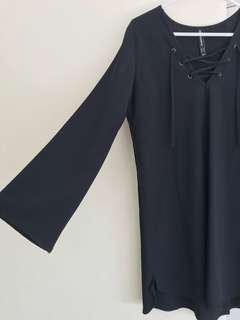 Black flare sleeve dress