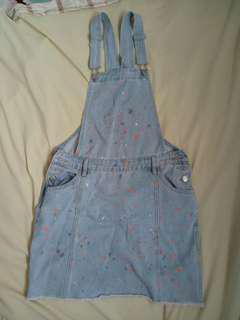 Cotton on overall denim skirt