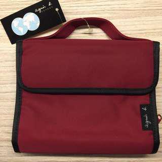 全新agnes b.紅色化妝袋