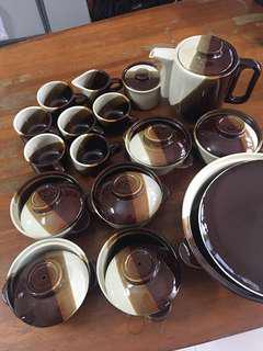 Cups bowls pot & tea pot set