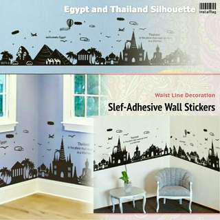 EgyptThailand Silhouette Self-Adhesive Wall Stickers埃及泰國剪影牆貼